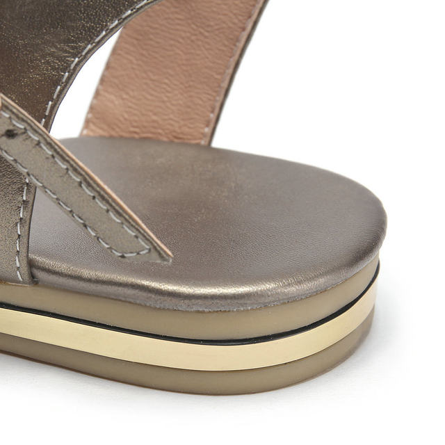 77ad6195f Online Shop ESVEVA 2018 Women Sandals Cow Leather Sandals Low Heel ...