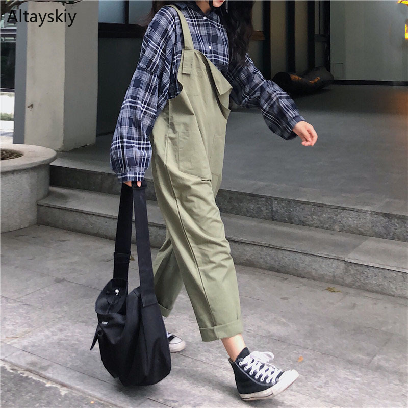 Jumpsuits Solid Simple All-match Korean Style Pockets Leisure Daily Kawaii Trendy Jumpsuit Womens High Quality Playsuits Chic