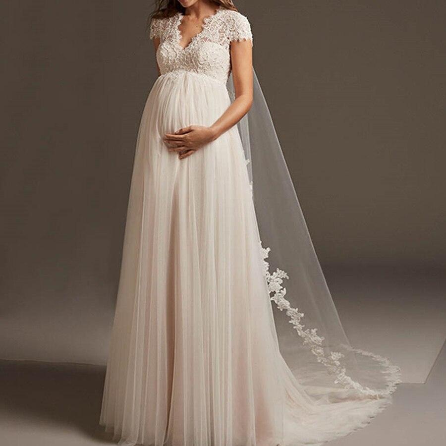 Pregnant Wedding Dress Lace  Cap Sleeve Vestido De Noiva Bohemian Tulle Open Back Applique A-line Bridal Gown