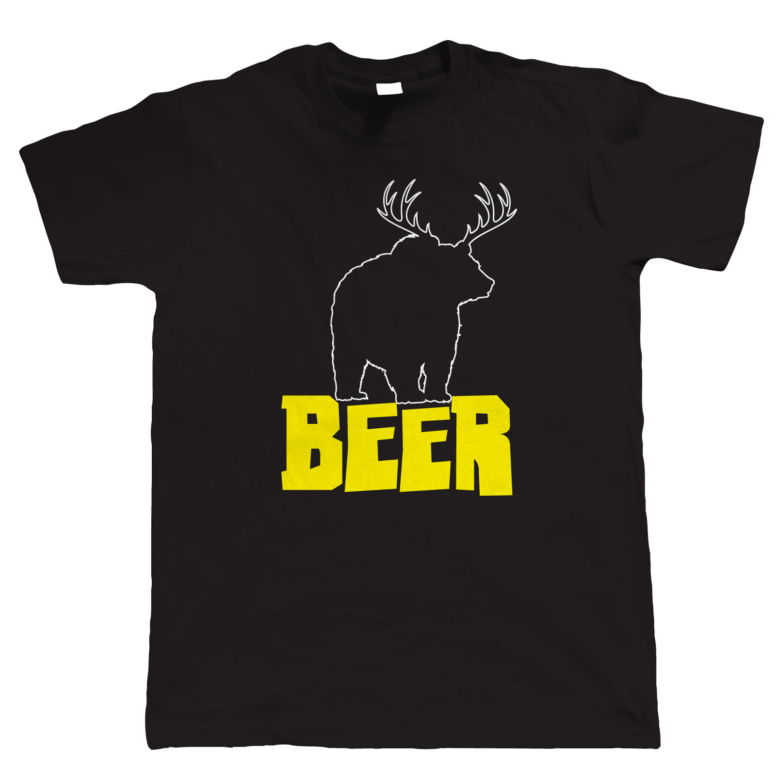 Bear Crossed Deer, Funny Mens T-Shirt - Birthday for Dad Him Fathers Day Short Sleeves Cotton T Shirt Top Tee Fashion