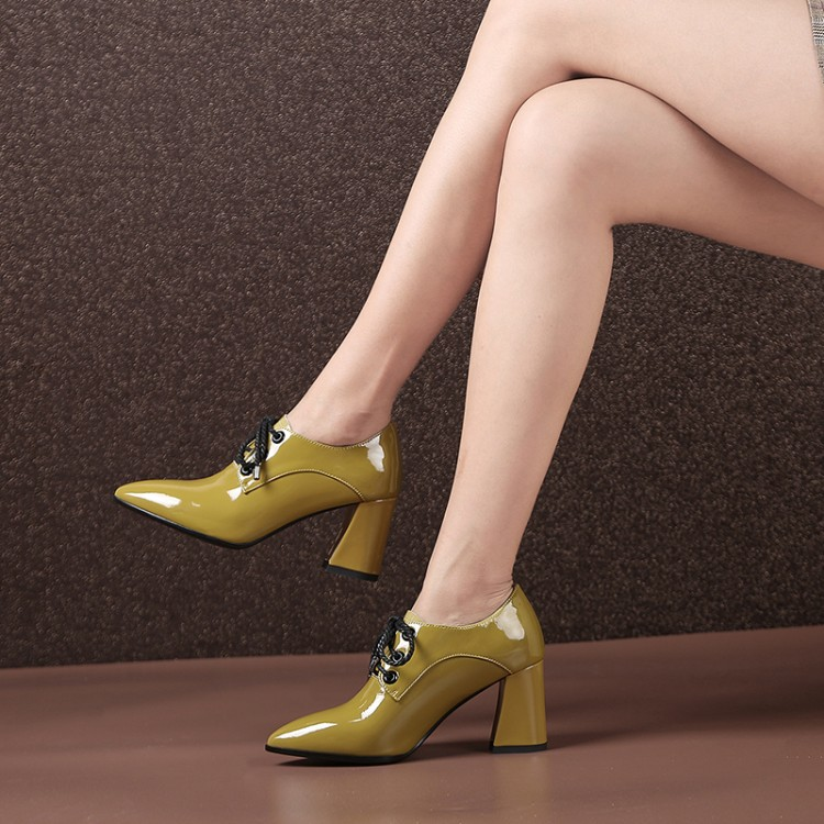 MLJUESE 2018 Women Pumps Cow Leather Lace Up Yellow Color Pointed Toe Autumn Spring High Heels Pumps Lady Shoes Party Wedding