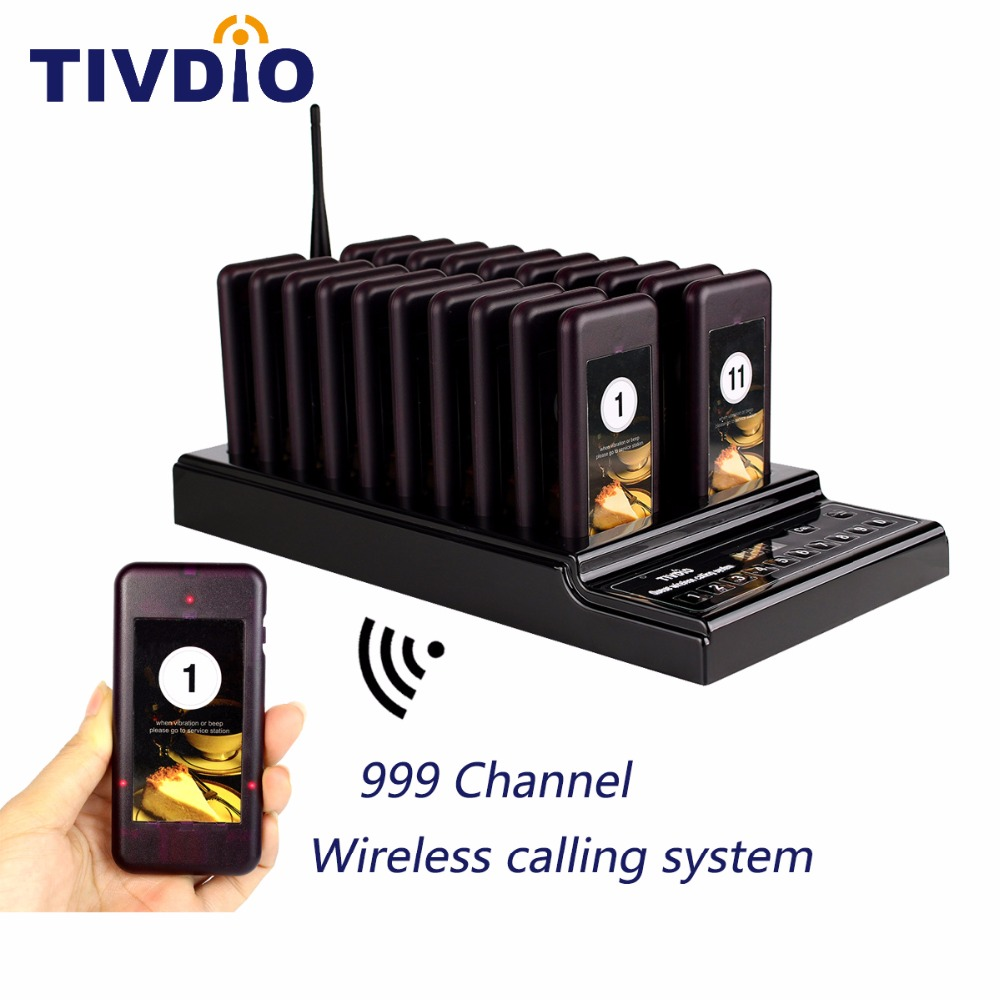 TIVDIO T-112 999 Channel 20 Call Coaster Pager Wireless Pager Queuing System Call Button Pager Restaurant Equipments F9402A wireless pager system 433 92mhz wireless restaurant table buzzer with monitor and watch receiver 3 display 42 call button