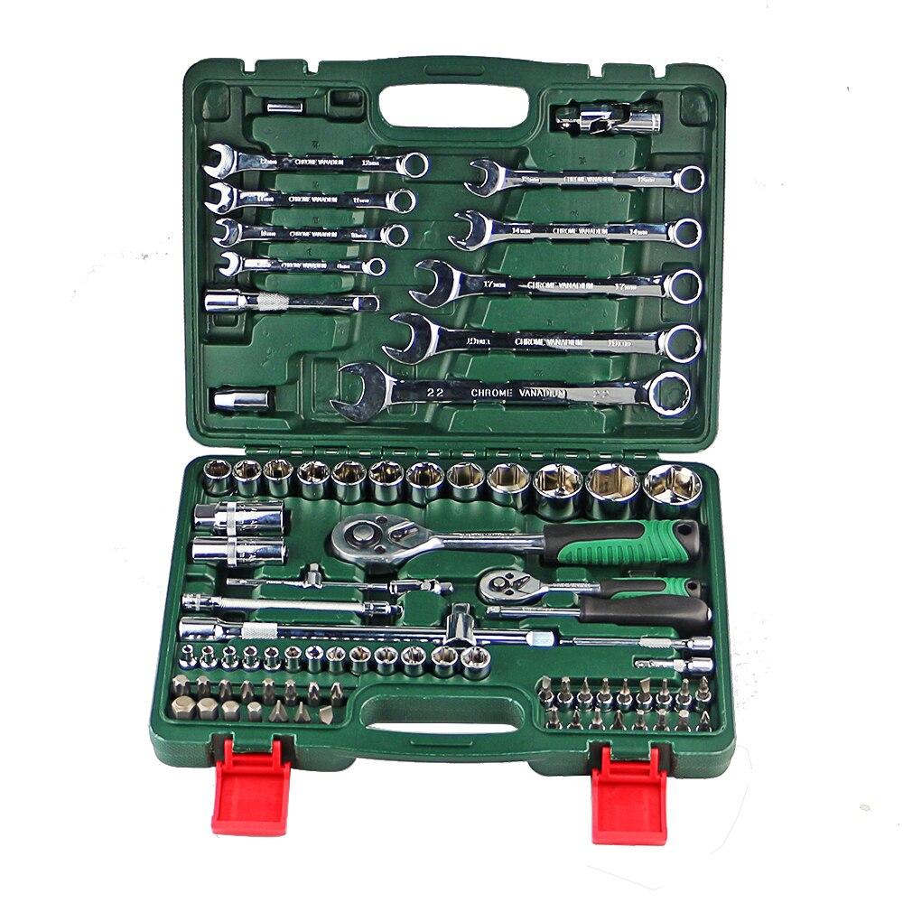 Набор ключей для ремонта автомобиля, набор гаечных ключей с трещоткой, универсальная комбинация головок, набор ручных инструментов для кол