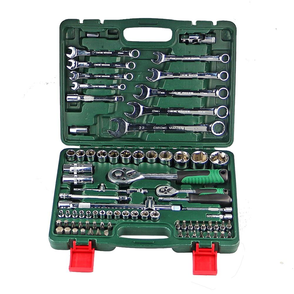 UM Conjunto De Chaves Para O Reparo Do Carro chave de Catraca Conjunto de Soquete Universal Combinação Cabeça Torque Engrenagem Coleção Spanner Hand Tool kit