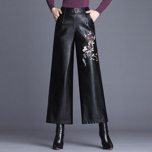8025a46708 M-4xl 2018 nowy jesień zima haftowane PU skórzane spodnie damskie wysokiej  talii spodnie Szerokie
