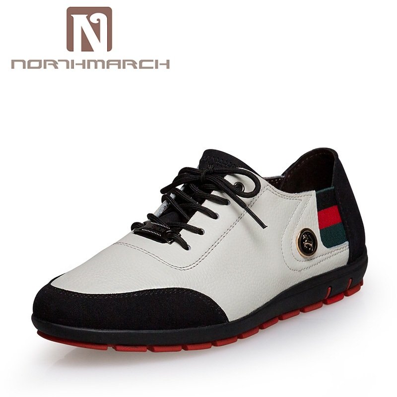 NORTHMARCH Brand Genuine Leather Men Casual Shoes Spring Summer 2018 New Arrival Breathable Soft Lace-Up Flats Men Shoes Tenis men luxury brand new genuine leather shoes fashion big size 39 47 male breathable soft driving loafer flats z768 tenis masculino