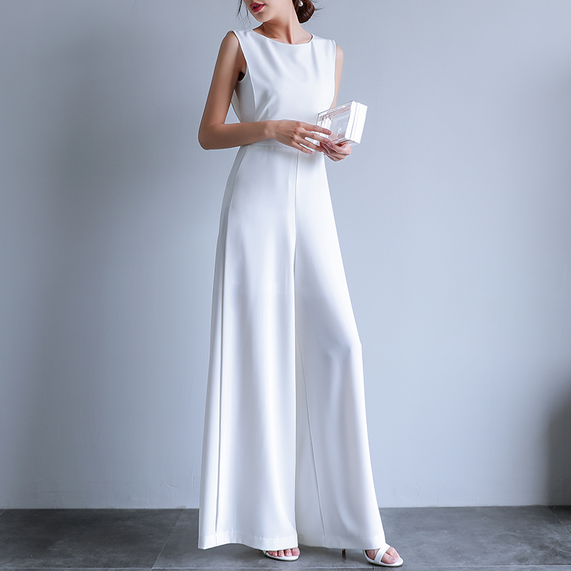 2019 Summer Female Plus Size Elegant Loose   Jumpsuit   Trousers Women Casual Long Pants Overalls in White Black