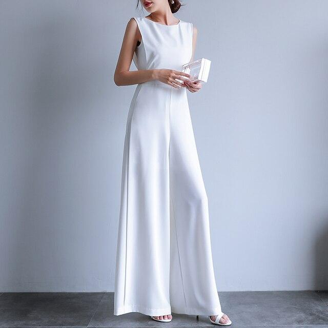 2019 verano Mujer Puls tamaño elegante suelto mono Pantalones mujer Casual pantalones largos monos en blanco negro
