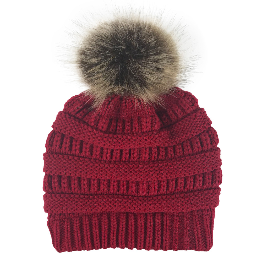 Winter Women Girls Knitted Hats Fashion Warm Faux Fur Pom Pom Ball Hat Ladies   Skullies     Beanie   Solid Female Casual Ski Caps