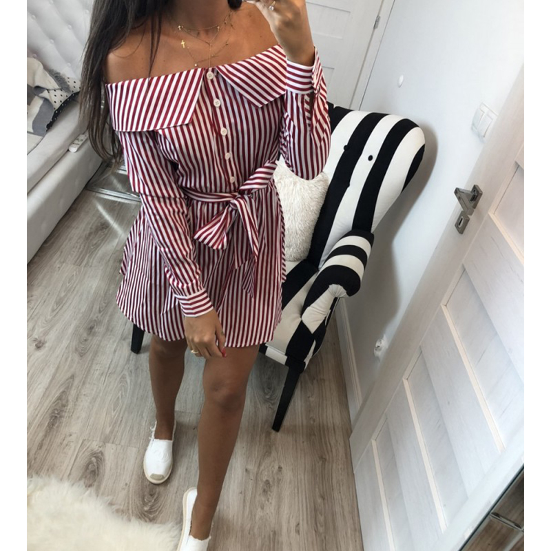 2018 Casual Women Shirts Dress Elegant Off Shoulder Striped Dresses Short Bow Ties Summer Dress Vestidos 3