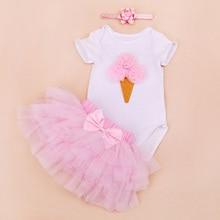 New Fashion Baby Girl Clothes Birthday Rompers Jumpsuit+Tutu Skirts+Headband 3pcs 1st birthday Newborn Bebes Clothings Sets