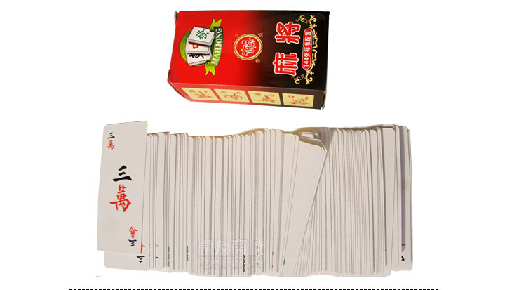 Free shipping Paper portable Mini Mahjong Playing Cards game 148 cards & 2 dice Chinese Traditional mahjong Board game