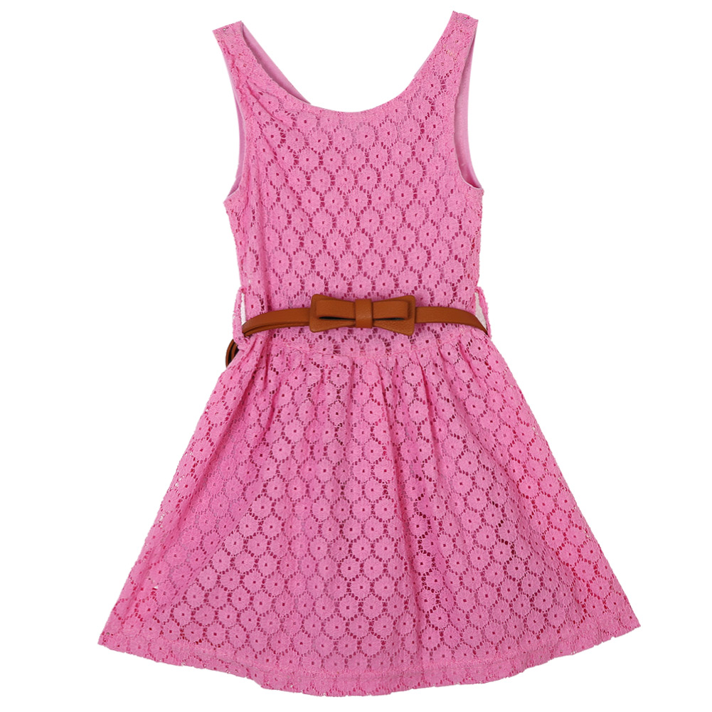 Fashion Pretty Baby Girls Princess Lace Summer Dress Clothes Kids Sleeveless Dresses 2-7Years baby kids girls clothes dresses sleeveless cool princess lace hollow out summer dress clothes kids 2 3 4 5 6 7 years new cute
