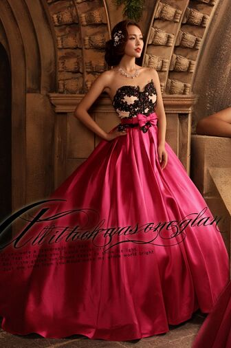 Hot Pink and Black Ball Gown Dresses