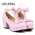 LIN  KING Women Buckle Round Toe Bowtie Pumps Lolita High Heels White Pink Black Cosplay Shoes Sweet Cute Wedding Girl Shoes