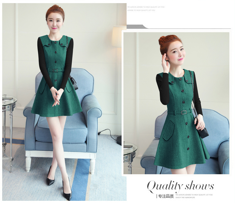winter new round collar single-breasted cloth dress belt buttons A word women dresses Korean fashion outfit lady vogue vestido 19
