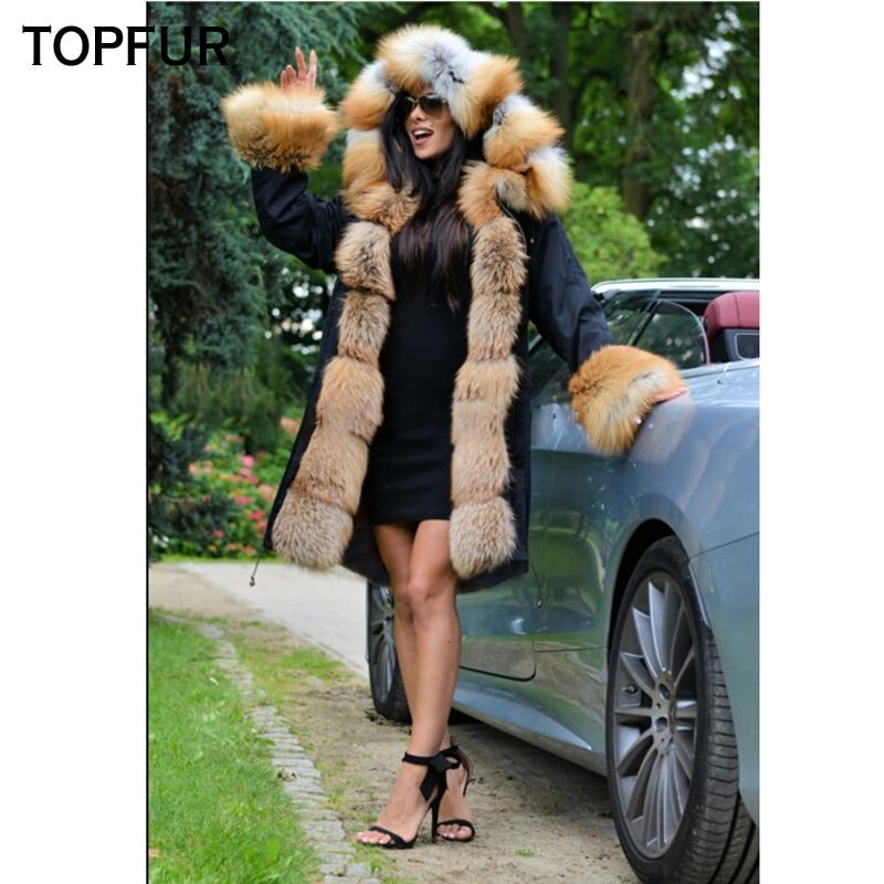 Manchette Renard Parka Chaud Hiver Et Luxe Avec Col Fourrure Femmes Style Réel Or Nouveau Épais De Topfur Naturel an6XgOq
