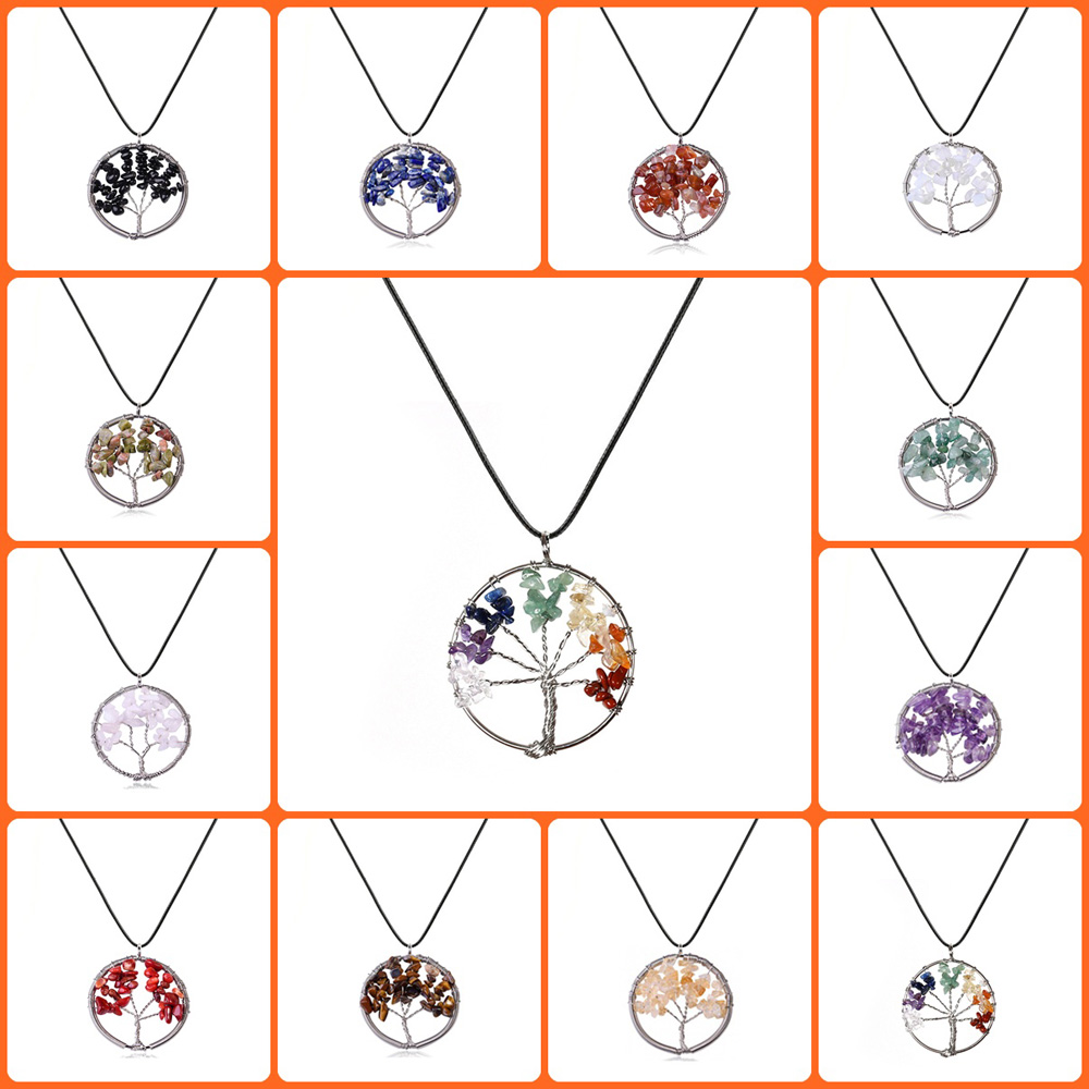 Fashion Natural Rainbow Stone Tree Of Life Quartz Pendant Necklaces Women Multicolor Wisdom Tree Choker Rope Chain Jewelry Gift in Pendant Necklaces from Jewelry Accessories