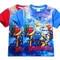2017 das Crianças roupas de Verão Do Bebê das meninas dos meninos T-shirt Legoe Ninjago Ninja dos desenhos animados T-shirt de algodão encabeça azul vermelho camisetas 3-8a
