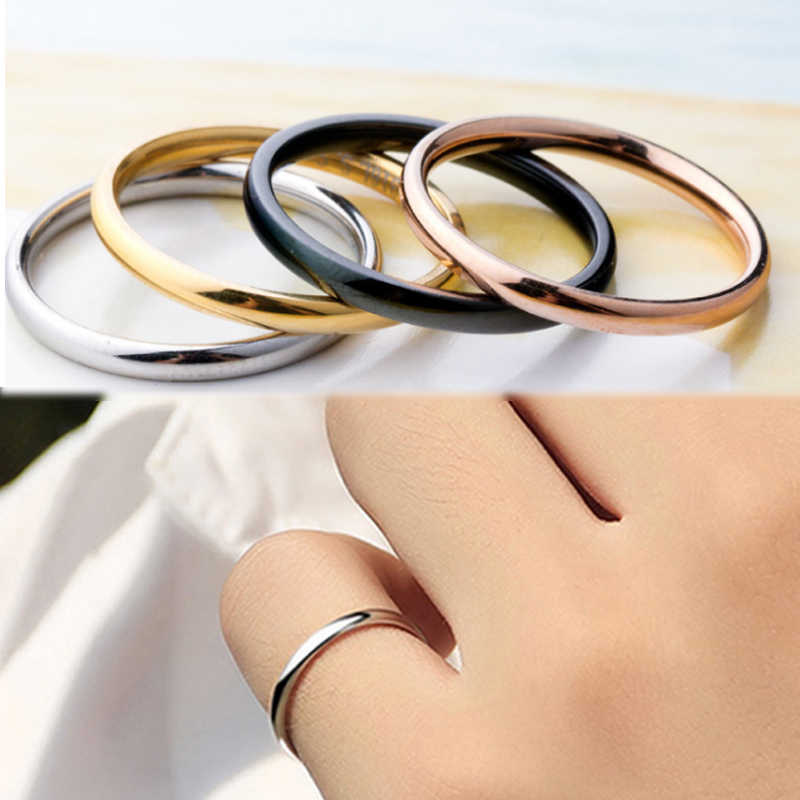 LNRRABC 1PC Hot Alloy 4 Colors Unisex Anniversary Couples Rings Titanium Steel Simple Wedding Women Men Allergy Free Jwelry Gift