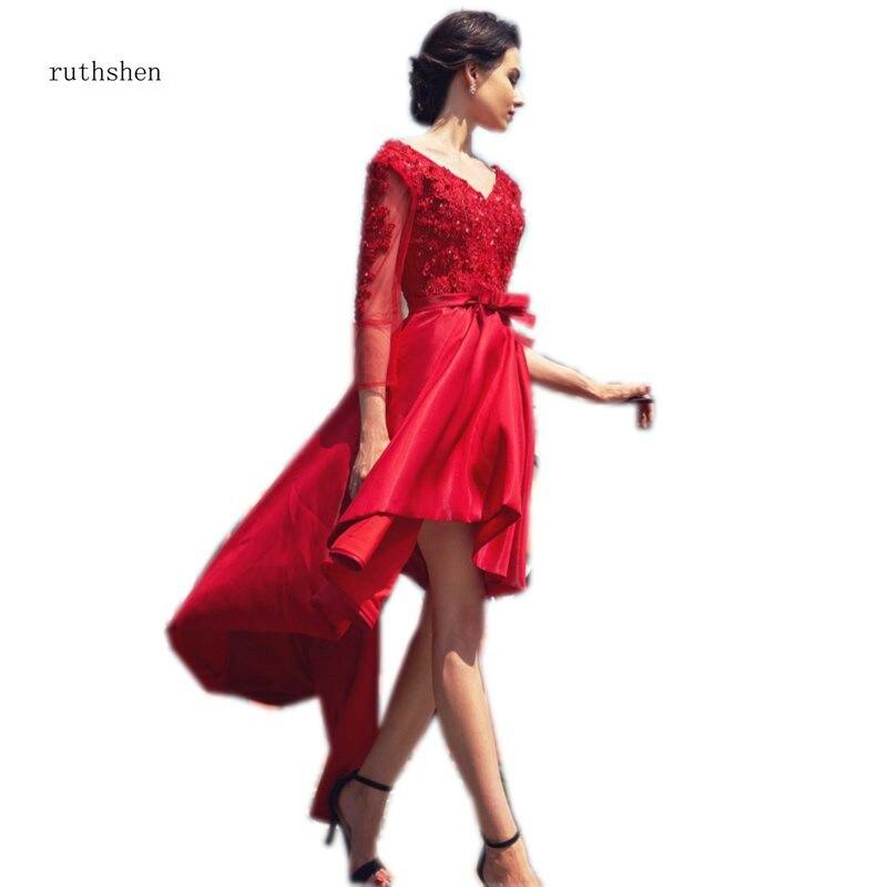 Ruthshen/Новинка 2018 года; Лидер продаж; платье для выпускного вечера с высоким и низким вырезом; элегантное платье с длинными рукавами для девоч