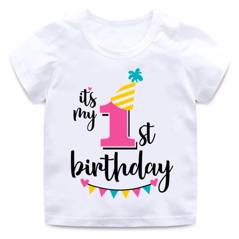 ZSIIBO Girl Happy Birthday 1-7 Letter Print T-shirt Baby Summer Cute Children Funny Clothes Birthday Gift Digital T-shirt