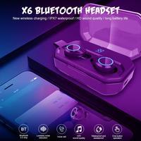 X6 Pro TWS Bluetooth Earphone IPX7 Waterproof Wireless Earbud Hifi 3D Stereo Headset with MiC 4000mAh LED Power Display PK G02
