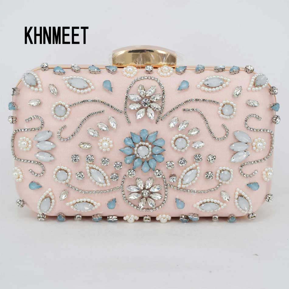 Light Pink Satin Luxury Crystal Pearl beaded Clutch Bag
