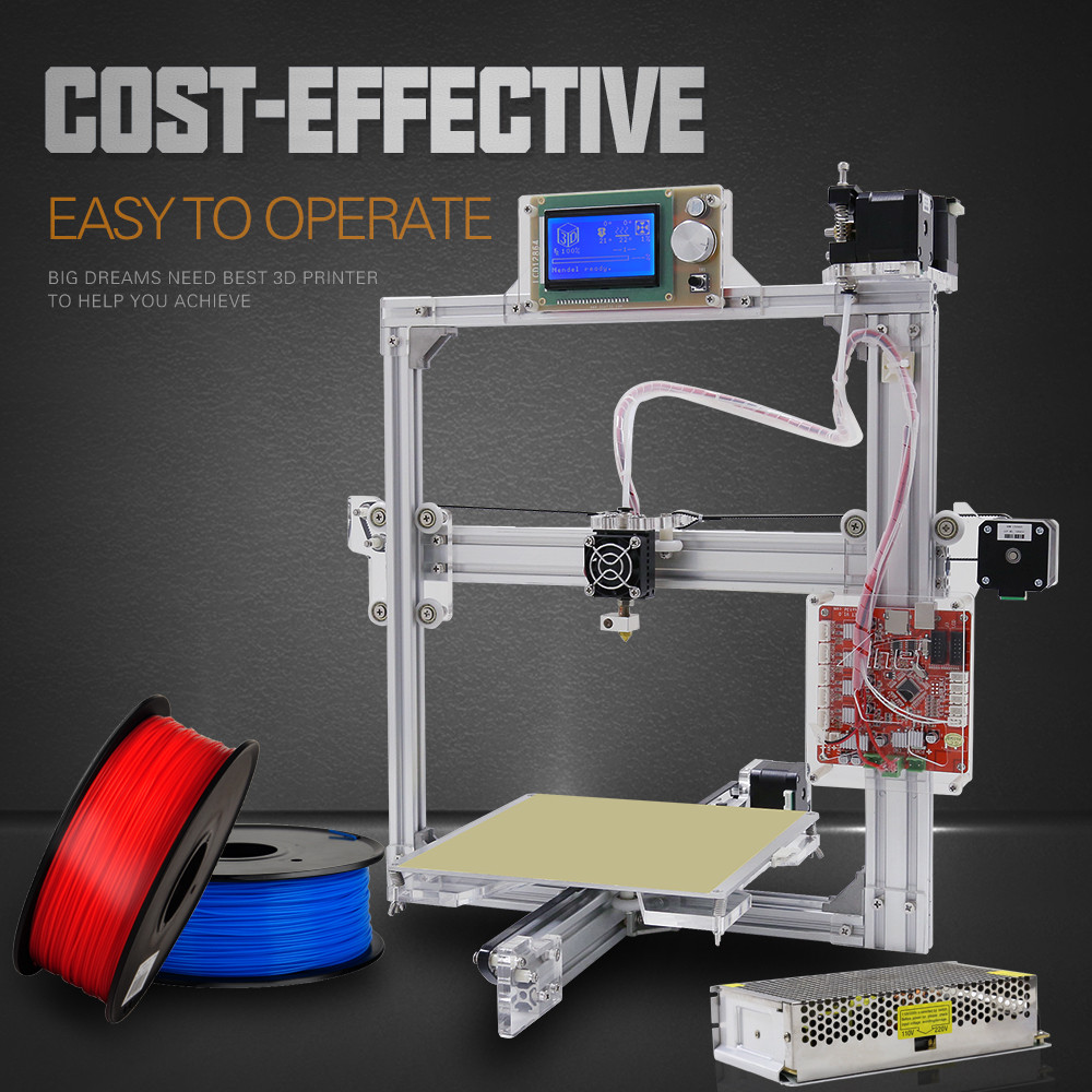 Easy Assemble Anet A2 3D Printer Kit High Precision Reprap Prusa i3 DIY 3D Printing Machine+ Hotbed+Filament+SD Card+LCD new anet e10 e12 3d printer diy kit aluminum frame multi language large printing size high precision reprap i3 with filament