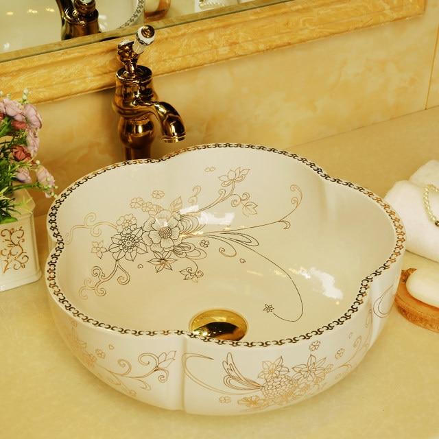 Flowers Shape Europe Vintage Style Countertop Basin Sink Handmade White  Ceramic Bathroom Vessel Sinks