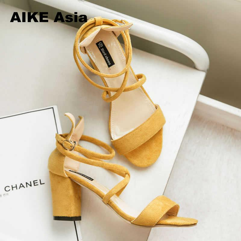 2019 High Heels Shoes Women Fashion Sandals Pumps Summer Sexy Black Ladies Casual Wedding  Ankle Strap  Zapatillas Mujer