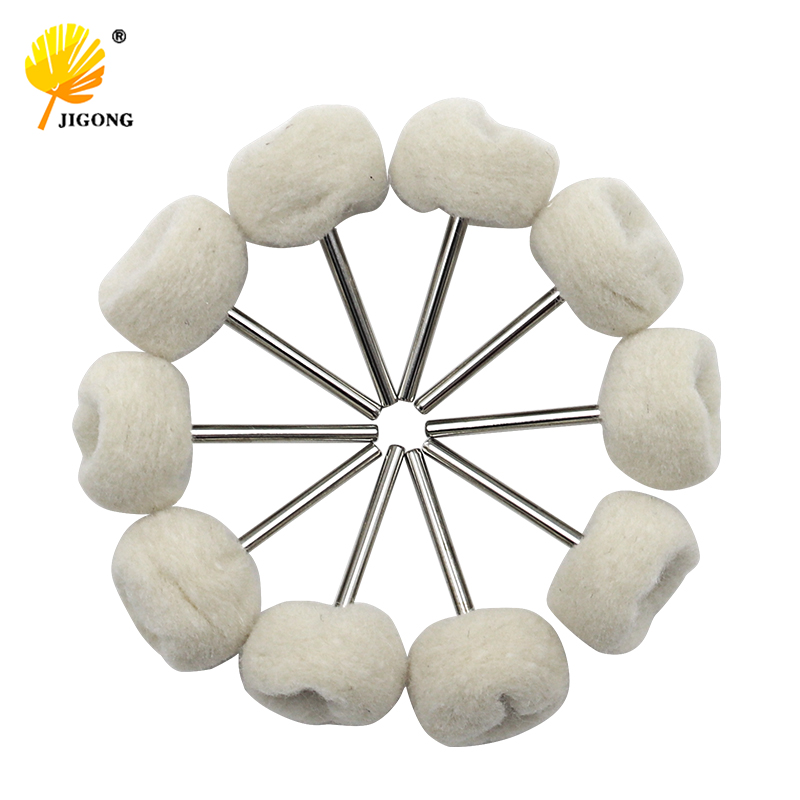 JIGONG 10PCS Fine Shank Wool Polishing Head Grinding Jewelry Metals Wheels Buffing