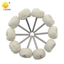 10PCS Fine Shank Wool Polishing Head Grinding Jewelry Metals Wheels Buffing Felt QSTEXPRESS Rotary Tool Accessories