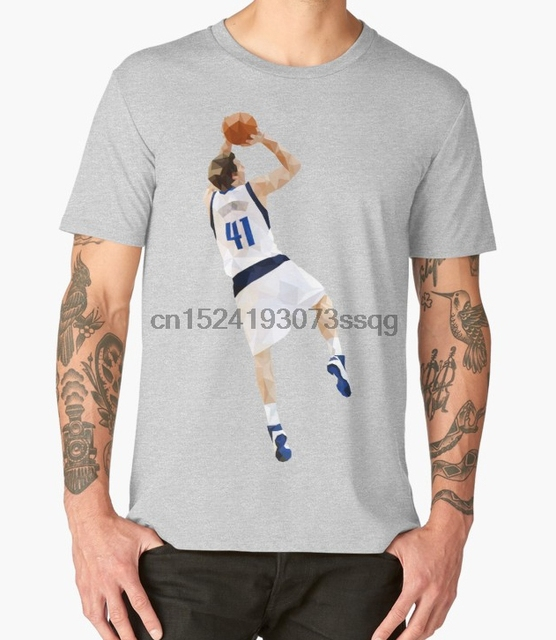 new concept 6a80c 7be4c US $12.99 |Printed Men T Shirt Cotton O Neck tshirts Dirk Nowitzki Fadeaway  Short Sleeve Women T Shirt-in T-Shirts from Men's Clothing on ...