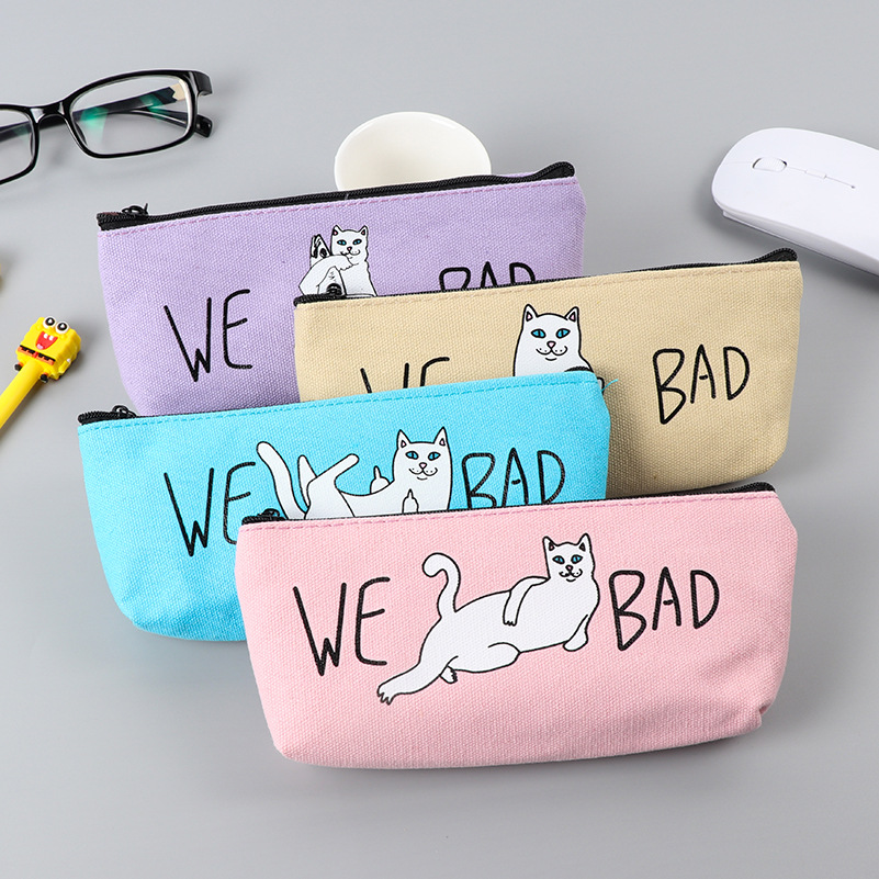 1Pcs New Cartoon We Bad Cat Kawaii Canvas Pencil Case Stationery Storage Organizer Bag School Office Supply H0844
