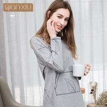 Qianxiu 2017 jesienne damskie spódniczki modne liście europejski i europejski styl czystej bawełny 1793C