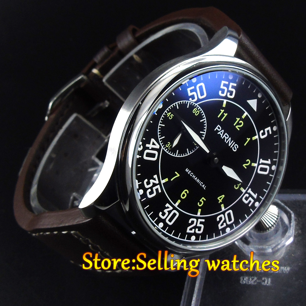 44mm parnis black dial 3600 hand winding 6497 mechanical mens watch