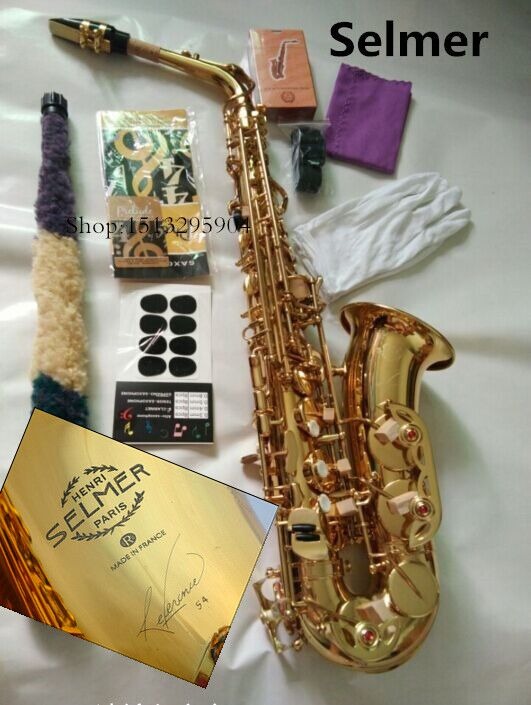 Alto saxophone musical instrument new high quality SELMER 54 saxophone profissional Reference electrophoresis gold Real picture new arrival screw nut plug saxophone trumpet erhu musical woodwind instrument microphone prevent mechanical noise for helicopter