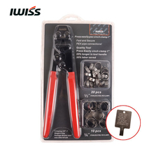"IWISS PEX CINCH Crimping Tool Crimper for Stainless Steel Clamps from 3/8""to 1"" with 1/2"" 20PCS and 3/4"" 10PCS SS PEX Clamps(China)"
