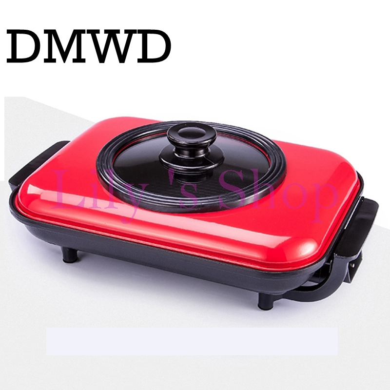 Household mini Barbecue BBQ Non-stick Electric pot Fry Pan roasting multifunctional grill Kebab machine hot plate Stove Roaster household mini electric induction cooker portable hot pot plate stove dorm noodle water congee porridge heater office eu us plug