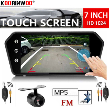 Koorinwoo Wireless Adopter Media 1024P Touch Screen Monitor Mirror MP5 Bluetooth USB FM Music Movie RCA Car Rear view Camera Set