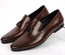 Большой размер EUR45 коричневый загар/черный мокасины обувь мужская летняя обувь из натуральной кожи квартиры мокасины мужская повседневная обувь с кисточкой