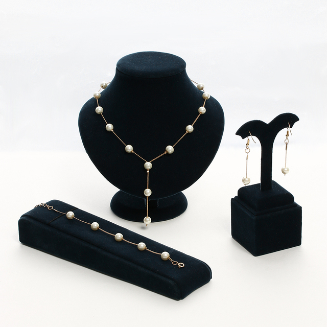 Elegant Imitation Pearls  Gold Crystal Jewelry Set