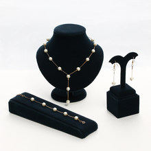 1Set NEW Elegant Imitation Pearl Necklace For Women Crystal Gold Silver Earrings Necklace Bracelet Jewelry Sets Femme brincos(China)