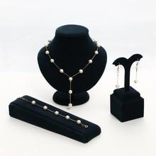 Brand New 2 Color Jewellery Sweet Elegant Women Imitation Pearl Jewelry Sets Simple Choker Necklace Bracelet Earrings