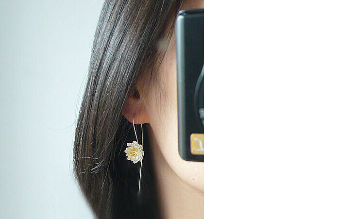 2016 New Arrival lovely lotus flower 925 sterling silver female ladies stud earrings birthday gift drop shipping promotion women in Stud Earrings from Jewelry Accessories