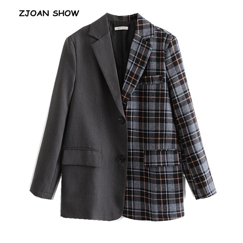 New 2018 Autumn Winter Gray Stitching Gangham Plaid Blazer Boyfriend Friend Style Women Contrast Color Suit Coat Fashion Femme