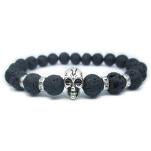 Bracelet Skull Metal Bone Silver Natural Lava Stone Crystal Distance Spacer For Men Women Fashion Charm Jewelry Cuff Wrist Band(China)