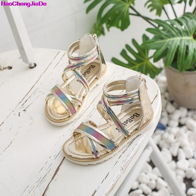 HaoChengJiaDe Summer New Sequins Girl Sandals Girls Sandals Princess Baby  Toddler Girl Sandals Kids Casual Flat Shoes For Girl 4b1e1964d76c