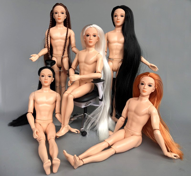 New 3D Eyes Boy Doll / with 14 joint moveable / Super Long Hair Nude Naked Doll boyfriend for Barbie Boy Bridegroom OB Ken Doll super long brown stright hair doll real eyelash 3d eyes supersize nude naked doll 12 joint moveable for diy barbie doll